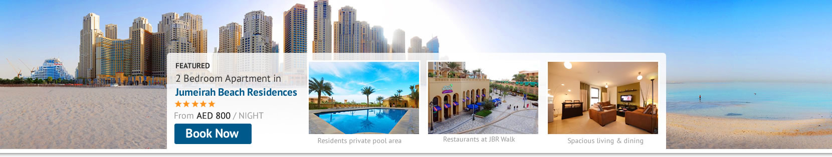 Book your Jumeirah Beach Residence Holiday Rental Apartment Online Now