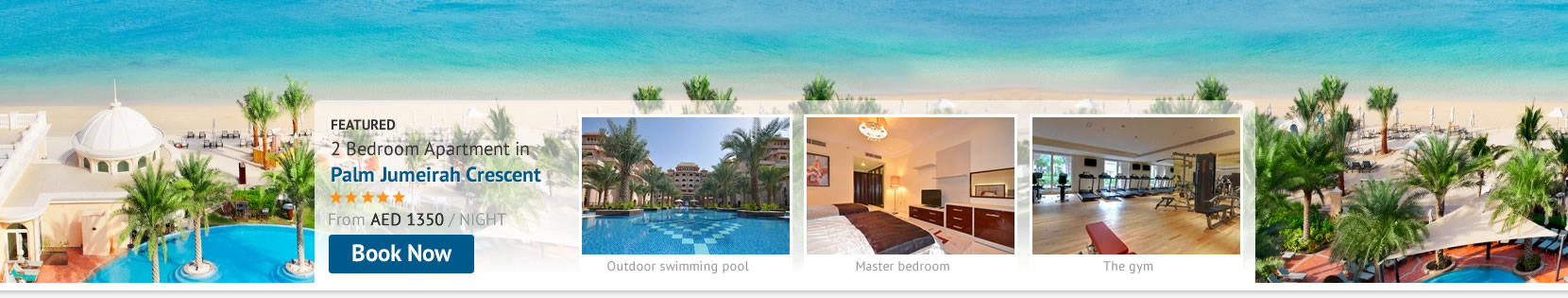 Book luxury Palm Jumeirah Crescent Holiday Apartments next to some of the leading Dubai Hotels