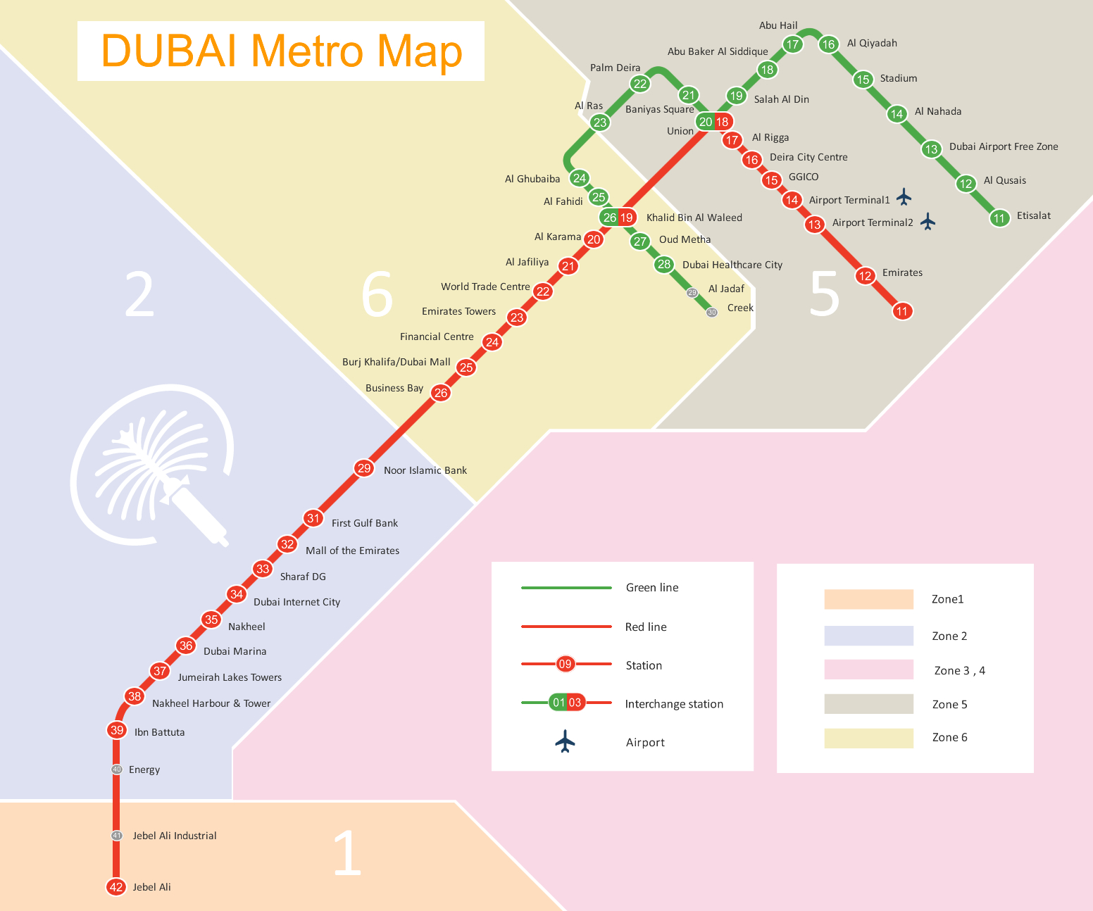 Dubai Metro Route Map –Dubai Subway Map–Dubai Rail Map Routes